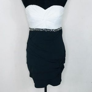 City Triangles Black White Rhinestone Dress Large